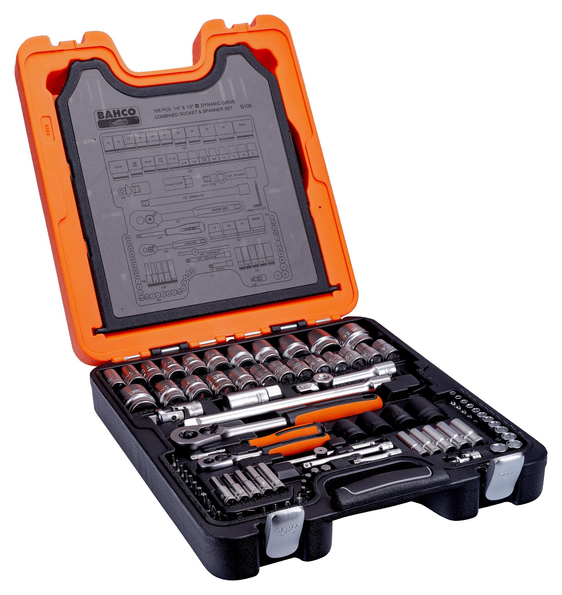 "Bahco S106 106 Piece Ratchet Socket Combination Spanner Set 1//4/"" /& 1//2/"" Drive"